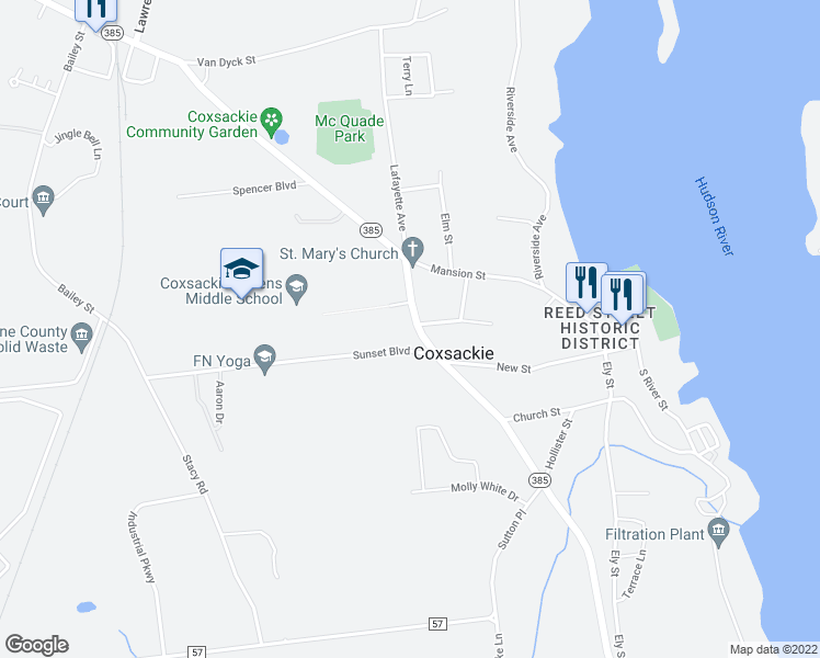 map of restaurants, bars, coffee shops, grocery stores, and more near 29 Washington Avenue in Coxsackie