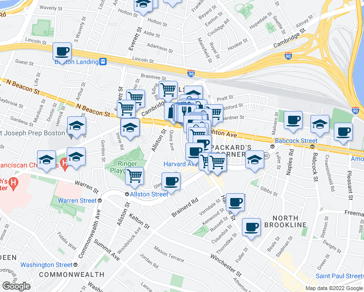 map of restaurants, bars, coffee shops, grocery stores, and more near Park Vale Avenue in Boston