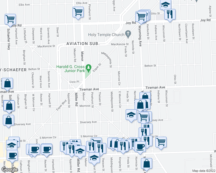 map of restaurants, bars, coffee shops, grocery stores, and more near 10420 Tireman Street in Detroit
