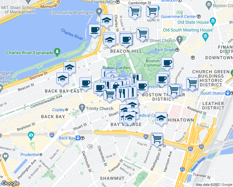 map of restaurants, bars, coffee shops, grocery stores, and more near Boylston Street in Boston