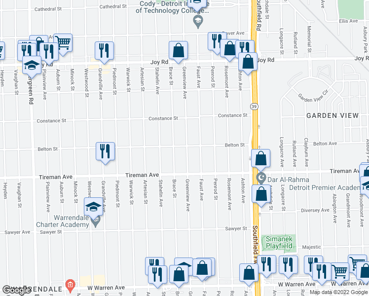 map of restaurants, bars, coffee shops, grocery stores, and more near 8115 Greenview Road in Detroit