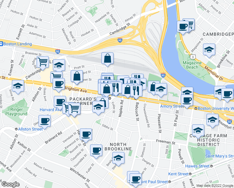 map of restaurants, bars, coffee shops, grocery stores, and more near Commonwealth Avenue & Brighton Avenue in Boston