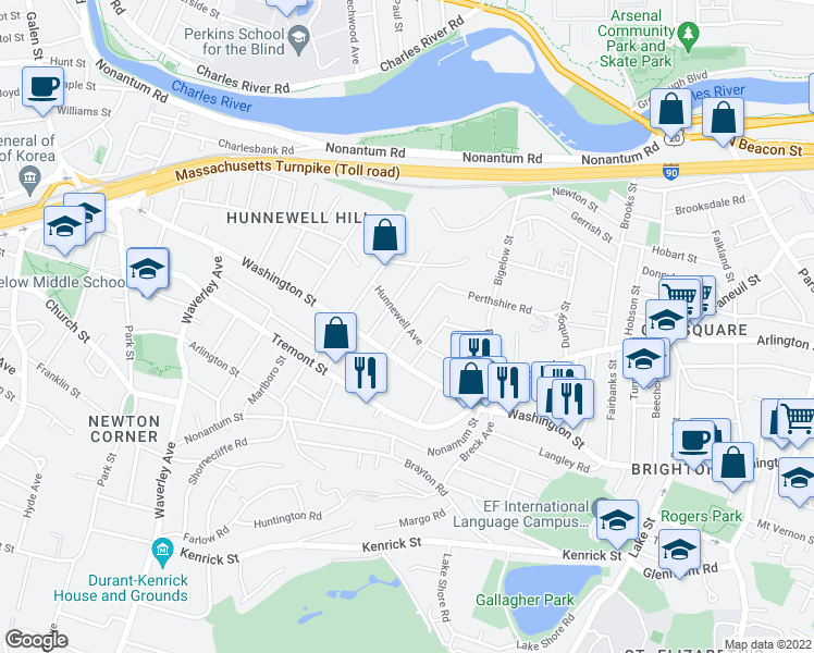 map of restaurants, bars, coffee shops, grocery stores, and more near Hunnewell Avenue in Boston