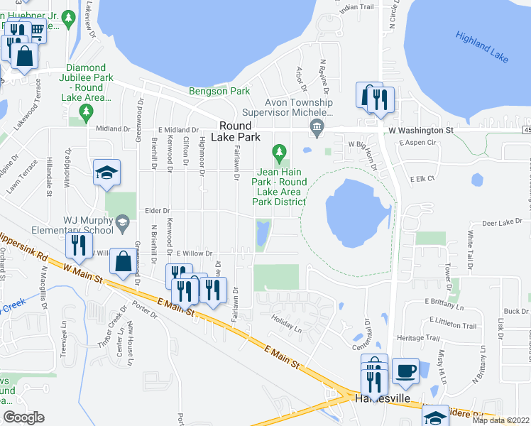 map of restaurants, bars, coffee shops, grocery stores, and more near 320 Elder Drive in Round Lake Park
