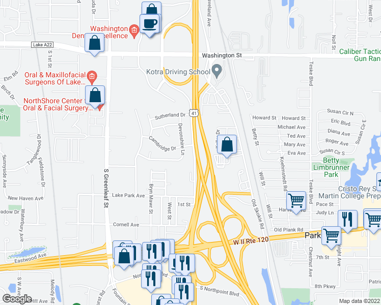 map of restaurants, bars, coffee shops, grocery stores, and more near 440 Frontage Road in Waukegan