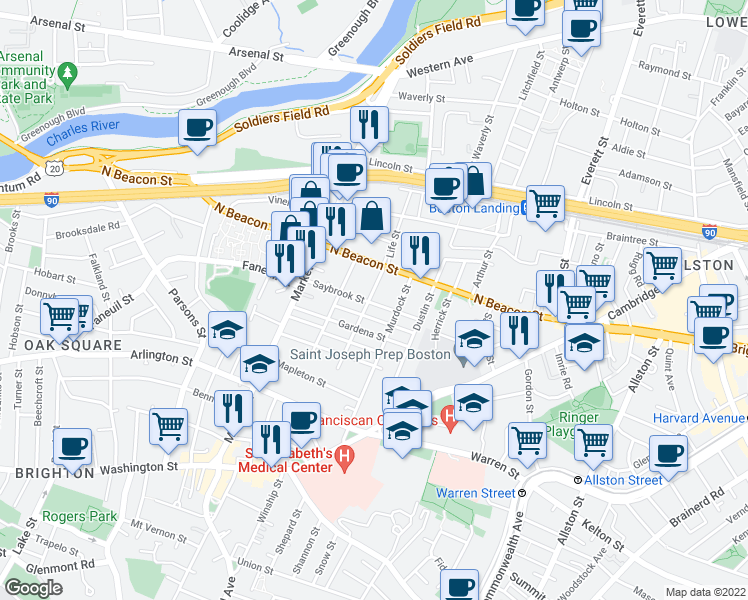 map of restaurants, bars, coffee shops, grocery stores, and more near 34 Etna Street in Boston