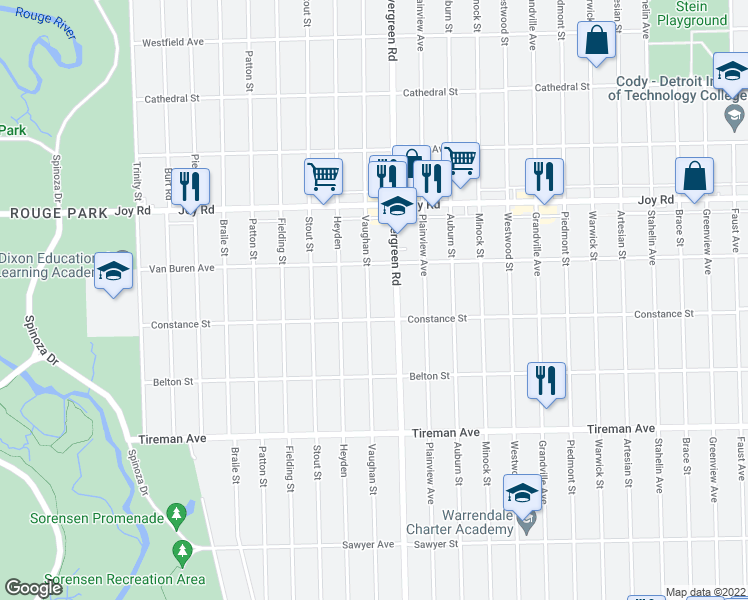 map of restaurants, bars, coffee shops, grocery stores, and more near 8440 Vaughan Street in Detroit