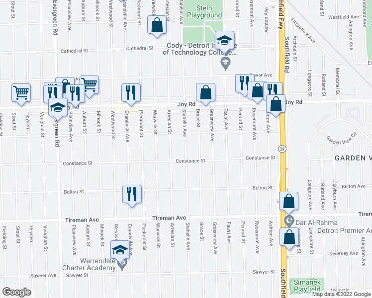 map of restaurants, bars, coffee shops, grocery stores, and more near 8500 Stahelin Avenue in Detroit
