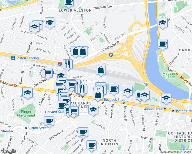 map of restaurants, bars, coffee shops, grocery stores, and more near 4 Wadsworth Street in Boston