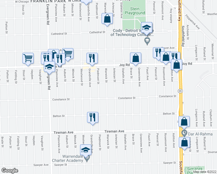 map of restaurants, bars, coffee shops, grocery stores, and more near 8482 Warwick Street in Detroit