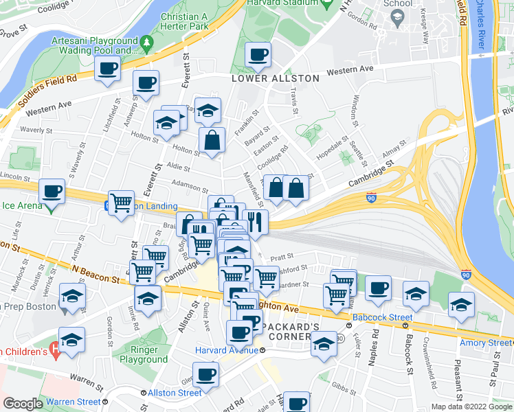 map of restaurants, bars, coffee shops, grocery stores, and more near 18 Mansfield Street in Boston