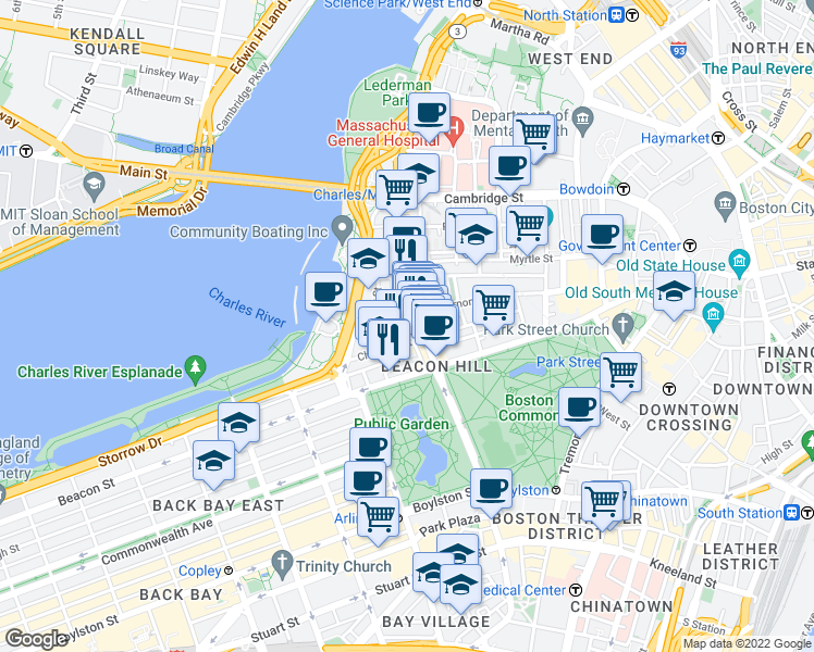 map of restaurants, bars, coffee shops, grocery stores, and more near River Street in Boston