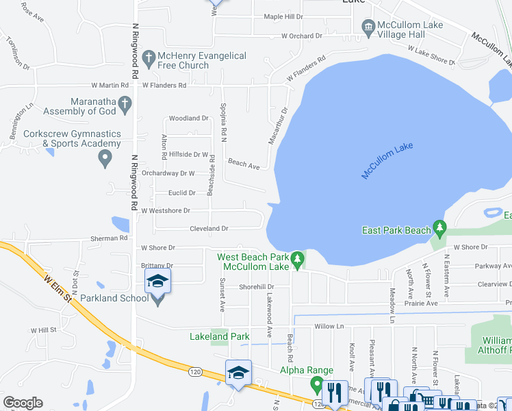map of restaurants, bars, coffee shops, grocery stores, and more near 5210 West Westshore Drive in McHenry