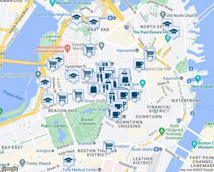 map of restaurants, bars, coffee shops, grocery stores, and more near Freeman Place in Boston
