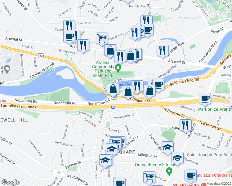 map of restaurants, bars, coffee shops, grocery stores, and more near North Beacon Street in Boston