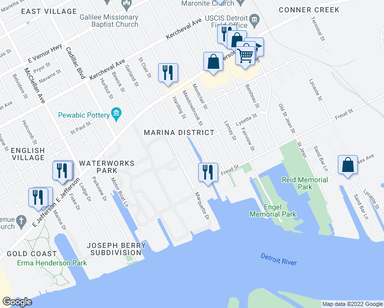 map of restaurants, bars, coffee shops, grocery stores, and more near 566 Saint Clair Street in Detroit