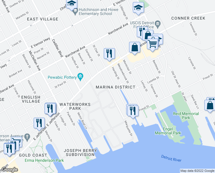 map of restaurants, bars, coffee shops, grocery stores, and more near 716 Marquette Drive in Detroit