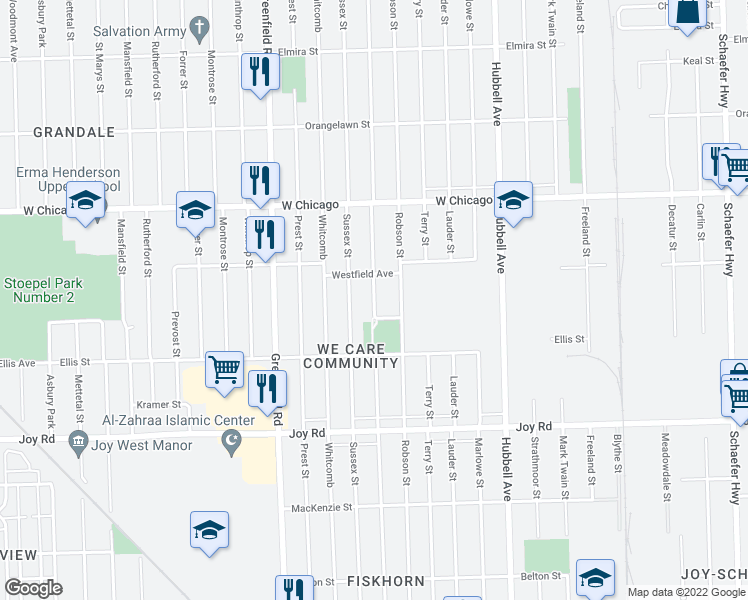 map of restaurants, bars, coffee shops, grocery stores, and more near 9171 Coyle Avenue in Detroit