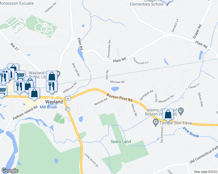 map of restaurants, bars, coffee shops, grocery stores, and more near 5 Glen Road in Wayland