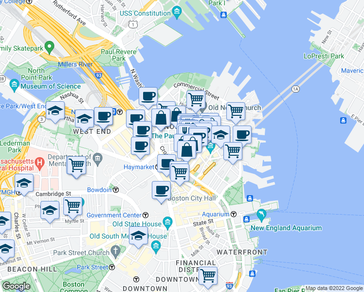 map of restaurants, bars, coffee shops, grocery stores, and more near Bartlett Place in Boston