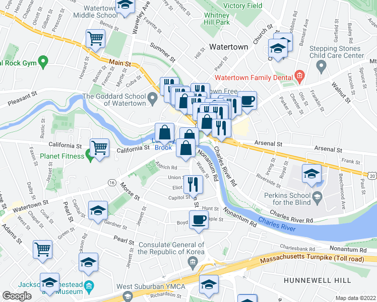 map of restaurants, bars, coffee shops, grocery stores, and more near 20 Massachusetts 16 in Watertown