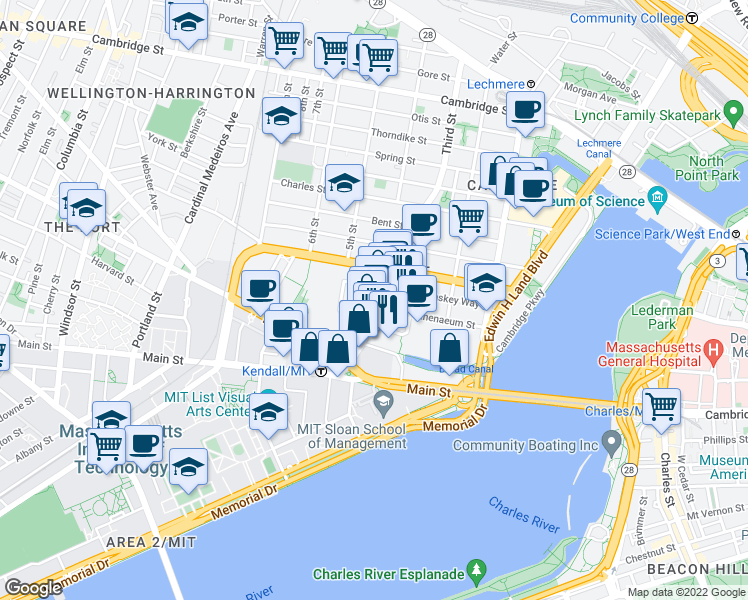 map of restaurants, bars, coffee shops, grocery stores, and more near 285 Third Street in Cambridge