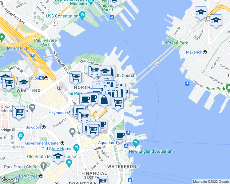 map of restaurants, bars, coffee shops, grocery stores, and more near Clark Street in Boston