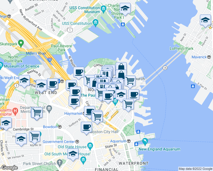 map of restaurants, bars, coffee shops, grocery stores, and more near Salem Street & Sheafe Street in Boston