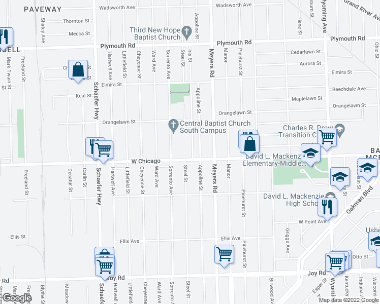 map of restaurants, bars, coffee shops, grocery stores, and more near 9501 Iris Street in Detroit