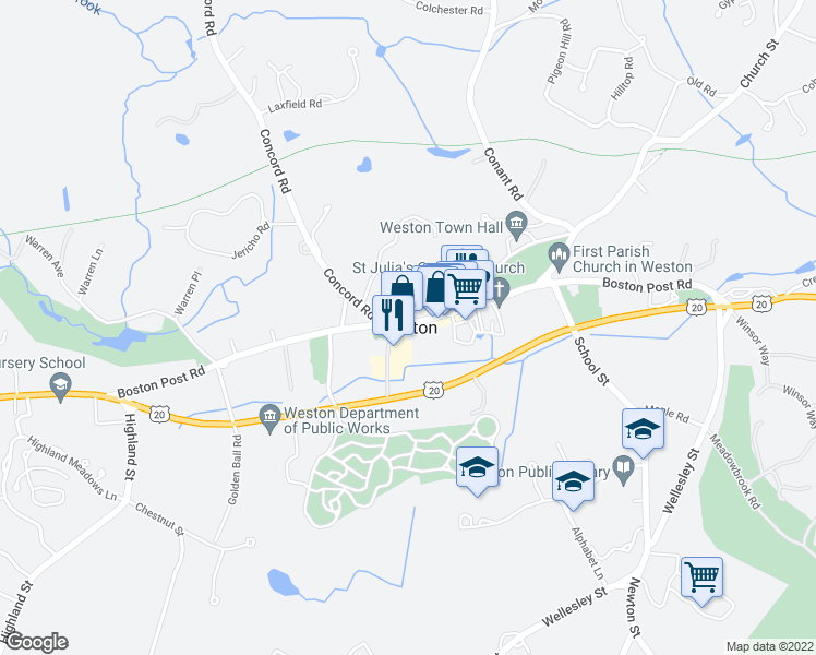 map of restaurants, bars, coffee shops, grocery stores, and more near 381 Concord Road in Weston