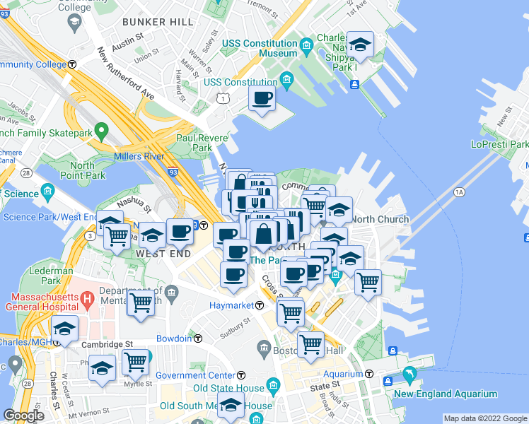 map of restaurants, bars, coffee shops, grocery stores, and more near 164 Prince Street in Boston