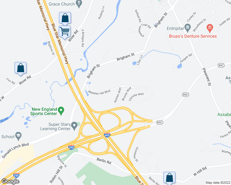 map of restaurants, bars, coffee shops, grocery stores, and more near 21 Austen Way in Marlborough