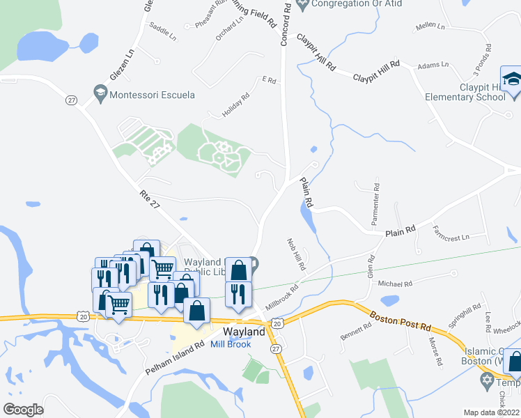 map of restaurants, bars, coffee shops, grocery stores, and more near 1 Bow Road in Wayland
