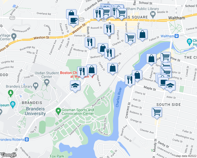 map of restaurants, bars, coffee shops, grocery stores, and more near 21-49 Hope Avenue in Waltham