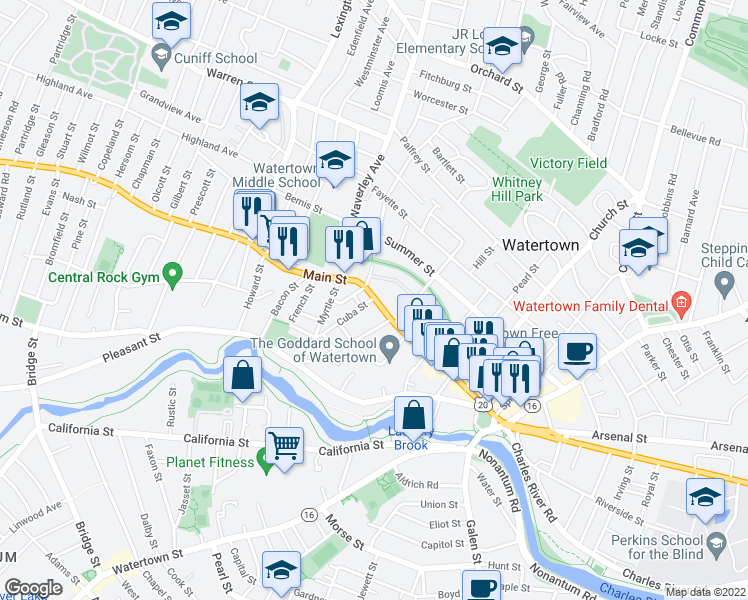 map of restaurants, bars, coffee shops, grocery stores, and more near 262 U.S. 20 in Watertown