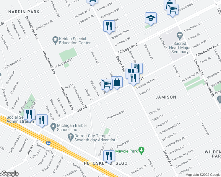 map of restaurants, bars, coffee shops, grocery stores, and more near Holmur St in Detroit