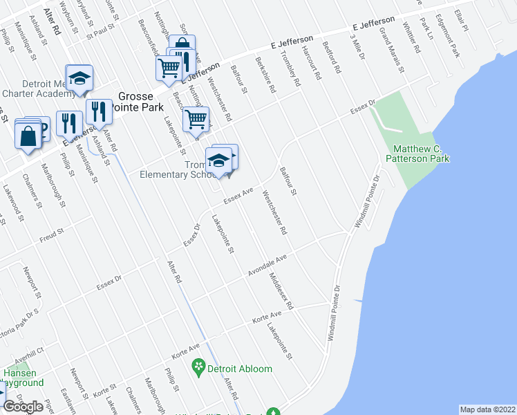 map of restaurants, bars, coffee shops, grocery stores, and more near 721 Balfour Street in Grosse Pointe Park