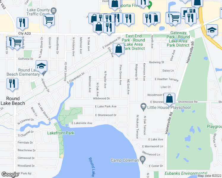 map of restaurants, bars, coffee shops, grocery stores, and more near 1326 Elm Avenue in Round Lake Beach