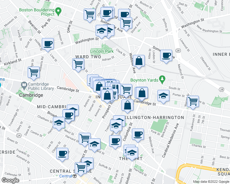 map of restaurants, bars, coffee shops, grocery stores, and more near 1259 Cambridge Street in Cambridge