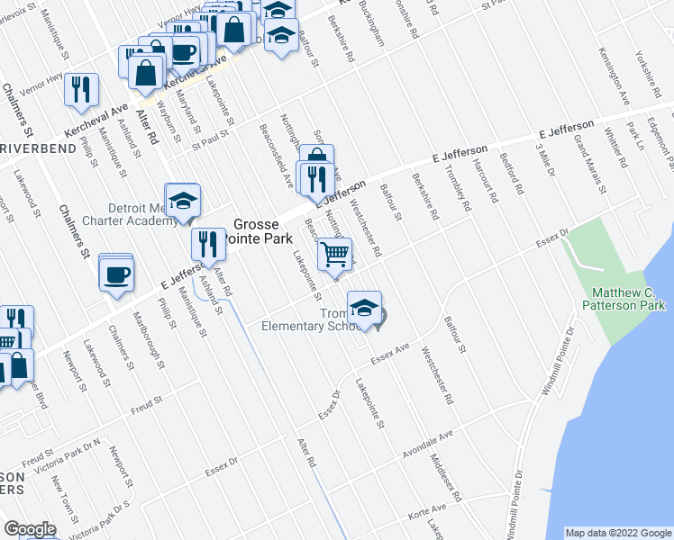map of restaurants, bars, coffee shops, grocery stores, and more near 910 Beaconsfield Avenue in Grosse Pointe Park