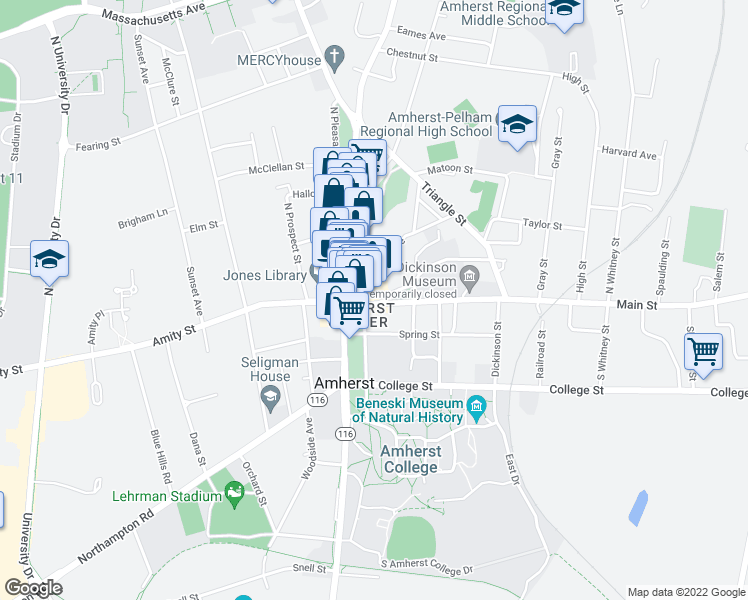 map of restaurants, bars, coffee shops, grocery stores, and more near 46 Main Street in Amherst