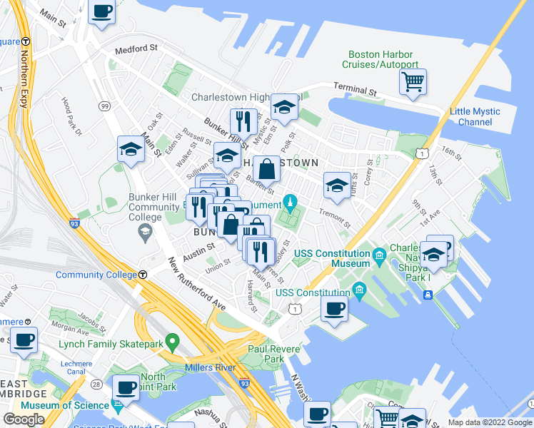 map of restaurants, bars, coffee shops, grocery stores, and more near 5 Cedar Street in Boston