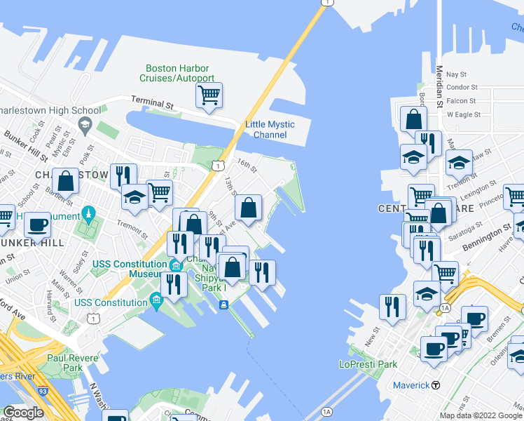 map of restaurants, bars, coffee shops, grocery stores, and more near 242 1st Avenue in Boston