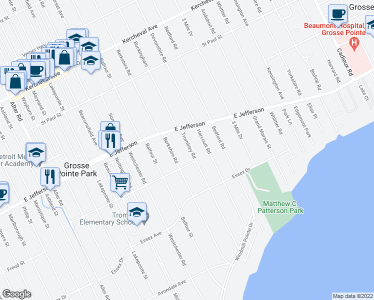 map of restaurants, bars, coffee shops, grocery stores, and more near 900 Harcourt Road in Grosse Pointe Park