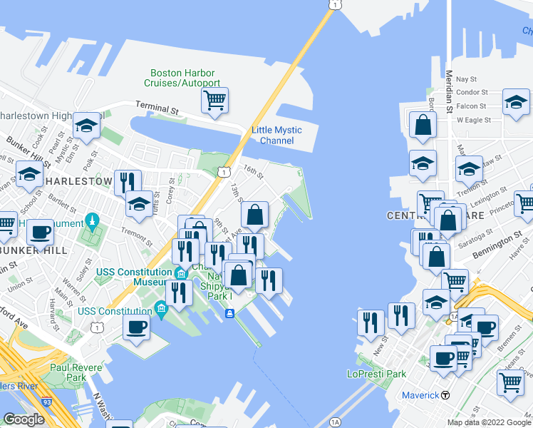 map of restaurants, bars, coffee shops, grocery stores, and more near 65-199 13th Street in Boston