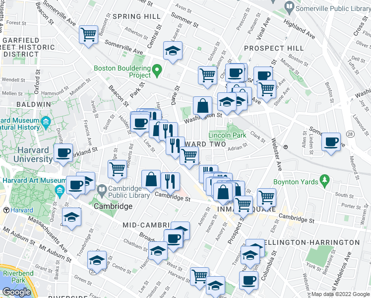 map of restaurants, bars, coffee shops, grocery stores, and more near Marion St & Dimick St in Somerville