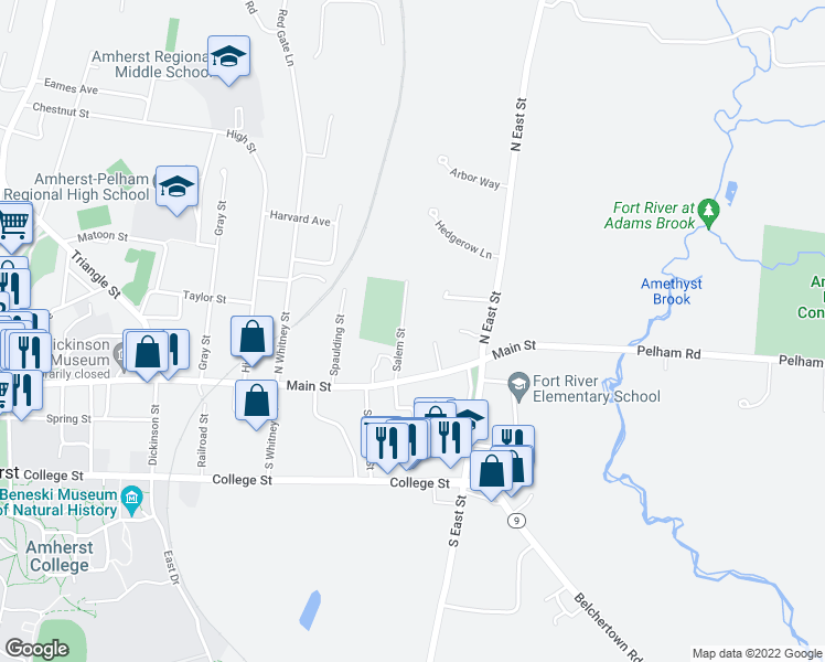 map of restaurants, bars, coffee shops, grocery stores, and more near 37 Salem Street in Amherst