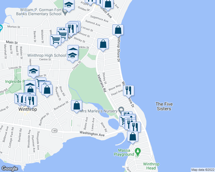map of restaurants, bars, coffee shops, grocery stores, and more near 3 Seafoam Avenue in Winthrop