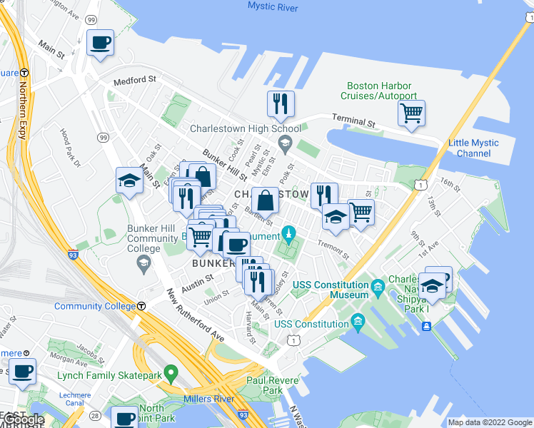 map of restaurants, bars, coffee shops, grocery stores, and more near 3 Trenton Street in Boston
