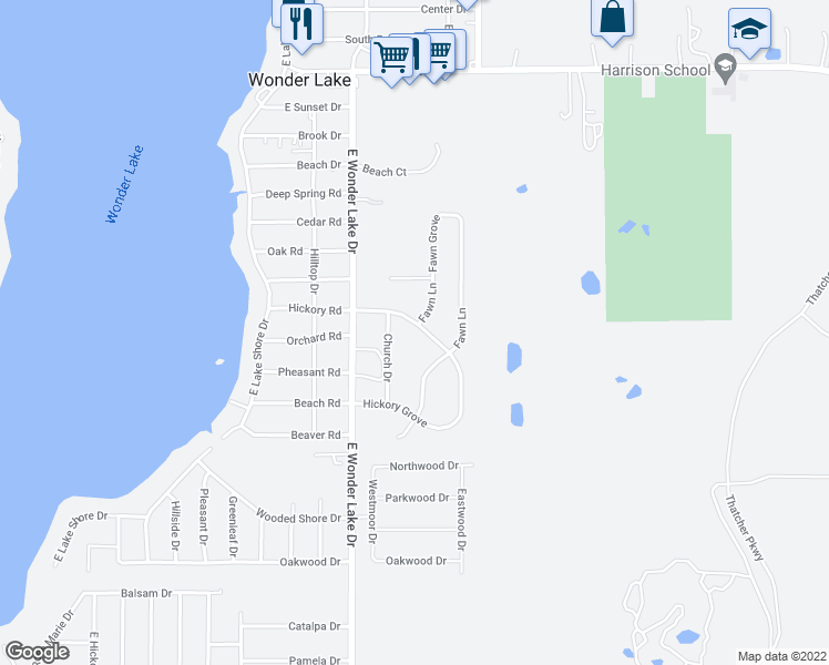 map of restaurants, bars, coffee shops, grocery stores, and more near 7417 Hickory Trail in Wonder Lake